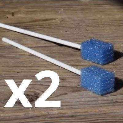 Two blue GunSponges with a x3 letter on top.